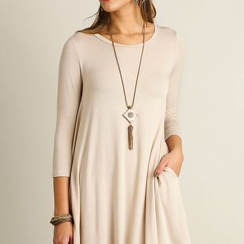 Cappuccino Pocketed Scoop Neck Dress