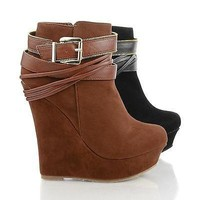 Honfleur71 Tan By Liliana, Zipper Ankle Buckle Wrap Platform Bootie
