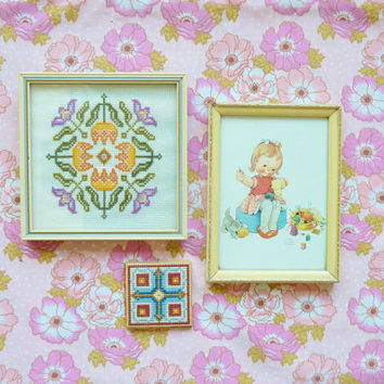 60s instant collection . home decor . wall hanging . framed . handmade cross stitch . sewing room  . mabel lucie attwell print .  etsy uk