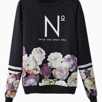 Black Floral Printed Sweatshirt