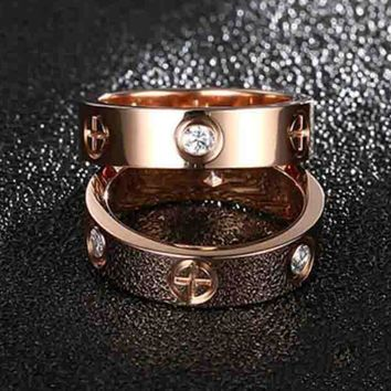 """Cartier"" Fashion Simple Cute Couple Rings Women Ring Rhinestone Ring Rn I"