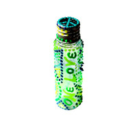 "Glow in the Dark, ""ONE LOVE,"" Peace sign, Green, Blue, Yellow, Turquoise, Hand-Painted, Plastic Mini Stash Jar"