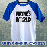 Wayne s World Baseball Cap Basic Baseball Tee Blue Short Sleeve Cotton Raglan T-shirt