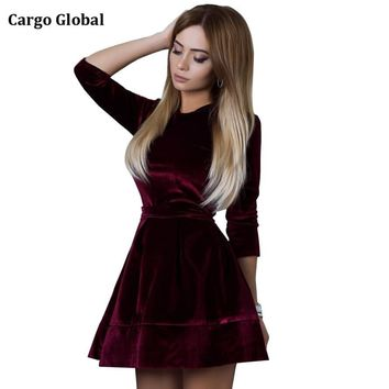 Women Retro Korean Velvet Dress 2017 Autumn And Winter Casual long Sleeve Pink Color Bottom Dresses Hot Sale