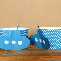 Printable 3D Blue Submarine Cupcake Wrapper Set in blue stripe patterns – perfect for a child's birthday - INSTANT DOWNLOAD