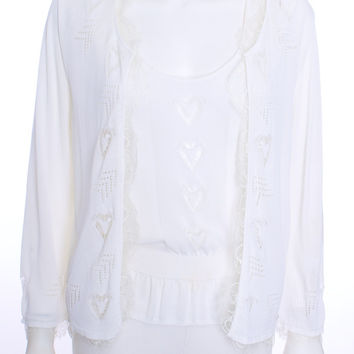 CHANEL 2 PIECE TWINSET SWEATER WITH SHELL WHITE LACE CC CHARM SIZE 10 US 42 EUR