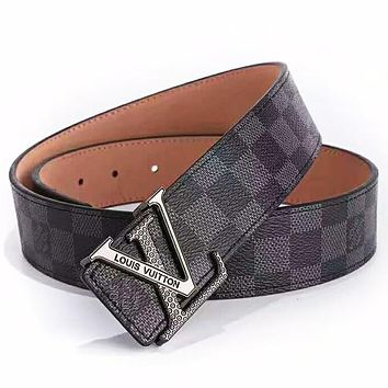 LV Louis Vuitton 2019 new classic printing men and women models wild simple smooth buckle belt Black Check Belt