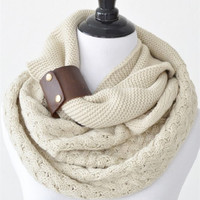 Infinity Scarf With Leather Cuff in a Contrast Knit