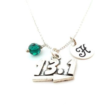 13.1 Marathon Charm Personalized Initial Sterling Silver Necklace