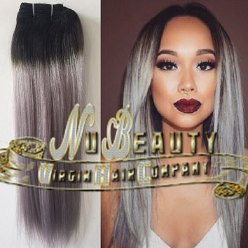 Ombre Balayage Grey Complete Human Hair Peruca Bundles or Wig #1B Off Black into Grey Silver Ombre Dip Dye