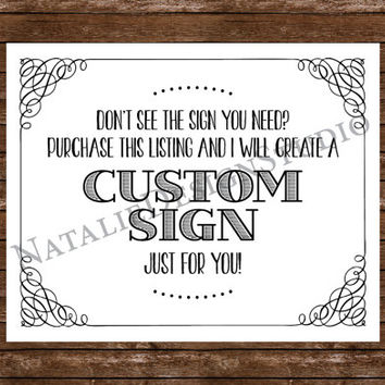 Custom Wedding Sign Just for You! - 8x10 Wedding Sign Customized Personalized White or Ivory Paper