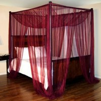 Palace Four Poster Bed Canopy Net Color: Burgundy