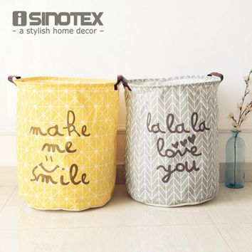 Cotton Linen Vintage Storage Laundry Basket Large Capacity Yellow Grey Arrow With Handle Crown Linen Fold Bin40x50cm