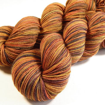 Hand Dyed Yarn - Sock Weight Superwash Merino Wool Yarn - Nutmeg Multi - Knitting Yarn, Sock Yarn, Wool Yarn, Earthtones, Gold
