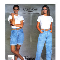 90s DENIM JEANS PATTERN Calvin Klein Mom Jeans & Shorts Pattern Vogue 2851 American Designer Size 8 10 UNCuT Vintage Womens Sewing Patterns