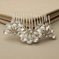 Feather And Fan Crystal Hair Comb
