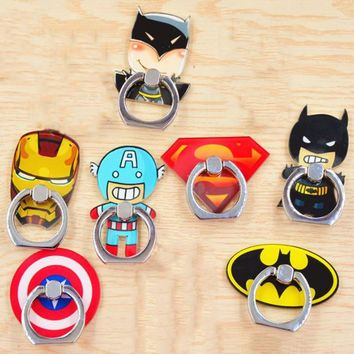 1 Pc Useful Anime Superman Finger Ring Ironman Phone Holder Captain America Ring buckle Superman Phone Stand Figure Toy