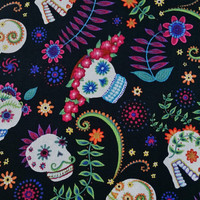 by the yard SUGAR SKULLS FLORAL Skulls on Black Día de Muertos Day of the Dead Excellent Fabric for Creative Genius Projects
