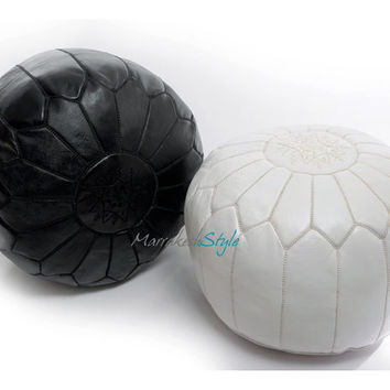 Moroccan Pouf, Leather Pouf, Round Ottoman Foot Stool Pouffe- Set of two-White Pouf, Black Pouf