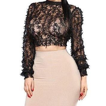 Felicity Young Women's Long Sleeve Mock Neck Sheer See Through Mesh Floral Lace Crochet Crop Top Blouse