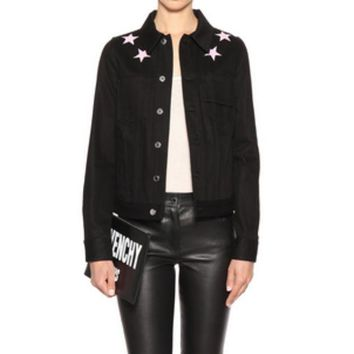 VLXZGW7 Givenchy' Women Simple Fashion Five-pointed Star Embroidery Long Sleeve Denim Cardigan Short Coat