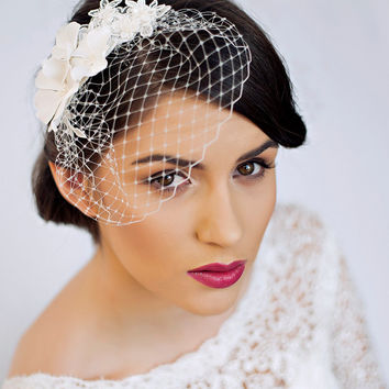 Small Birdcage Veil with Cherry Blossom in Ivory - Bridal Hair Piece - Wedding Hair Piece