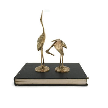 Bird Figurine, Crane, Brass Bird Figurine, Vintage Brass, Brass Ornaments, Brass Figurine, Brass Figure, Brass Crane, Asian Decor