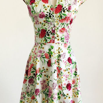 Spring flower dress, floral dress, summer dress, vintage style dress, mid-length dress, cotton dress, 50s dress, garden party dress, SS16