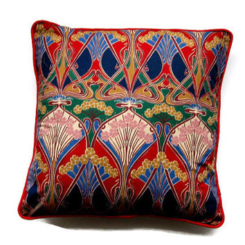 "Liberty ""Ianthe"" fabric, early 80s Art Nouveau design, red, blue, green  mustard yellow cushion, throw pillow, homeware decor, 18 X 18 ins."