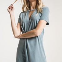 The Suede Cut-Out Dress in Sea Green