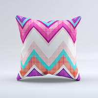 Vibrant Teal & Colored Chevron Pattern V1 ink-Fuzed Decorative Throw Pillow