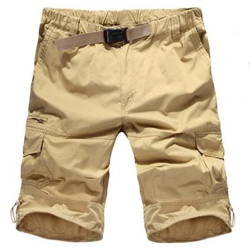 Big Size Shorts Men 2017 Summer Cargo Men Short Pants High Quality Loose Cotton Casual Short Men Khaki Army Green Beach Shorts