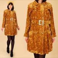 ViNtAgE 60's 70's Gold CRUSHED VELVET Jacket Coat MoD Swing // Double Breasted With Belt // Belted