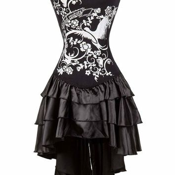 TITIVATE New Arrival Women Steampunk Corsets Dress Vintage Bustier Top Gothic Printed Overbust Corset Dress Plus Size Push Up