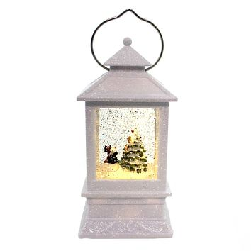 Christmas LANTERN WITH SNOWMAN Metal Tree Cardinals Led 130752
