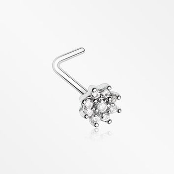 Gleaming Sparkle Flower L-Shaped Nose Ring