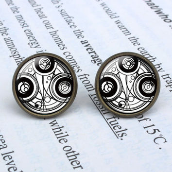 Handmade Doctor Who Time Lord earrings Dr. Who Time Seal post earring Time Seal arrings Jewelry, Gift