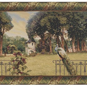 Peacock Manor with Acanthe Border Belgian Tapestry Wall Art