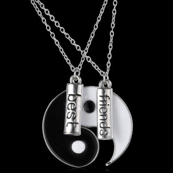 couple Jewelry Personalized Yin Yang necklace broken necklace best friend hand stamped pendant two pendants for friends gifts