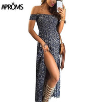 Summer Women Dress Bohemian Sexy Split Hem Short Sleeve Off Shoulder Blue Floral Print Woman Long Maxi Dresses Feminino Vestidos