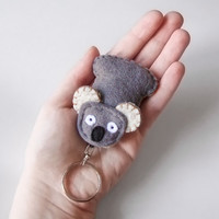 Koala keychain charm made of felt, wool koala bear figurine, felt stuffed animal, cute bags accessory