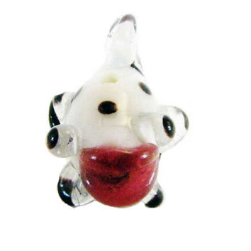 Fish Bead White and Black Spotted red  Glass Bead Craft  Jewelry Supply Lampwork Bead