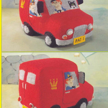 Postman Pat's Van, Knitting Pattern, PDF instant download