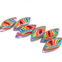 Colorful leaf shaped beads, stripes Polymer Clay beads in rainbow colors, Set of 6 unique beads