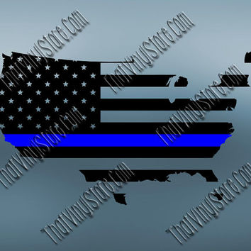 United States Back the Blue Flag Thin Blue Line Vinyl Decal | Yeti Cop Decal | Distressed American Flag | Blue Lives Matter | 511