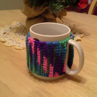 Bright Color Mix Slip On Mug Cozy, easy on easy off coffee mug cozies, koozie