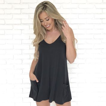 Keep It Cool Pocket Romper in Black