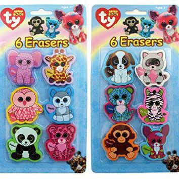 Ty Beanie Boo's Die Cut Character Erasers, 2 x 2 Inches Each, Pack of 6, Assortment Will Vary, 816-3
