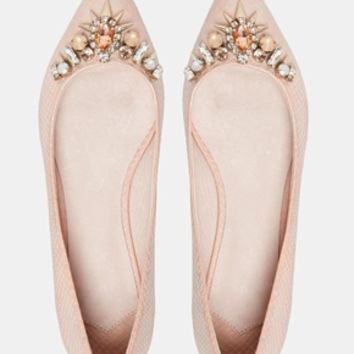 Faith Garden Embellished Flat Pointed Shoes