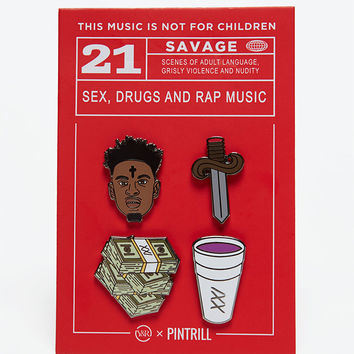 Young and Reckless x 21 Savage Four Pack Pin Set at PacSun.com